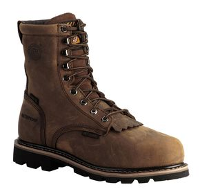 "Justin Men's Pulley Waterproof MetGuard 8"" Lace-Up Work Boots - Composite Toe, Brown, hi-res"