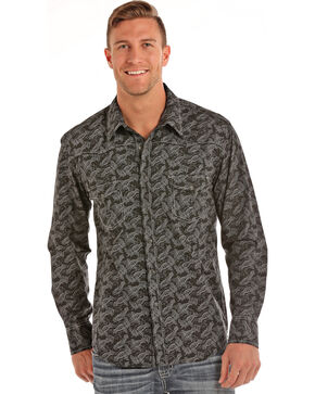 Rock & Roll Cowboy Men's Paisley Print Long Sleeve Shirt, Black, hi-res
