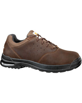 "Carhartt Men's 3"" Brown Oxford Walking Shoes - Round Toe, Dark Brown, hi-res"