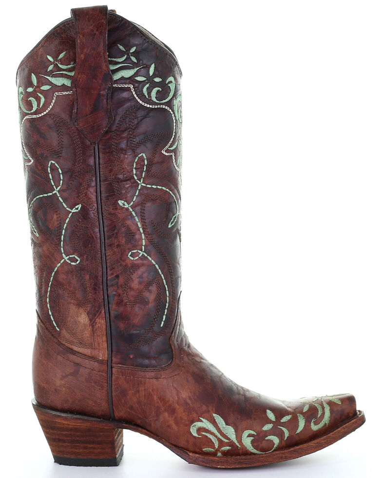 Circle G by Corral Women's Brown Embroidery Western Boots - Snip Toe, Brown, hi-res