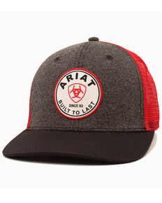 Ariat Men's Grey Brand Circle Patch Mesh Cap, Grey, hi-res