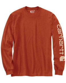 Carhartt Men's Orange Signature Sleeve Logo Long Sleeve Work T-Shirt , Orange, hi-res