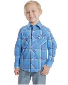 Wrangler Retro Boys' Blue Plaid Long Sleeve Western Shirt , Blue, hi-res
