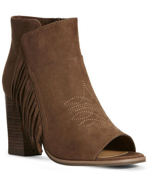 Ariat Women's Unbridled Scarlet Cognac Fashion Booties - Open Toe, Cognac, hi-res