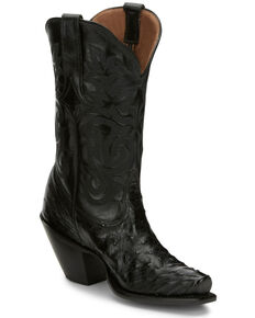 Tony Lama Women's Black Mindy Hermosa Full Quill Ostrich Western Boots - Snip Toe, Black, hi-res