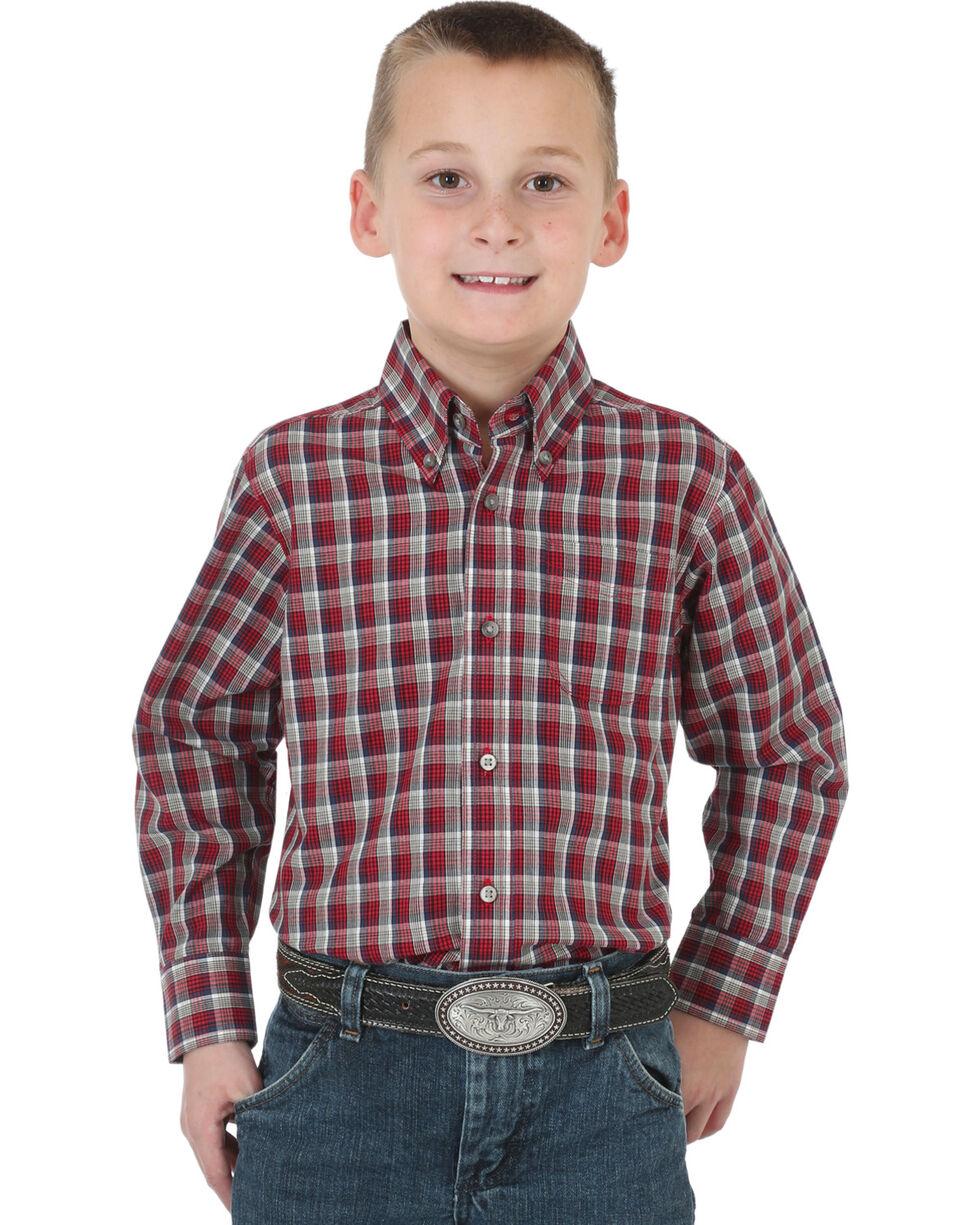 Wrangler Boys' Riata Assorted Plaid Long Sleeve Button Down Shirt, Multi, hi-res