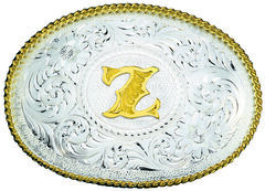 Montana Silversmiths Engraved Initial Z Western Belt Buckle, Multi, hi-res