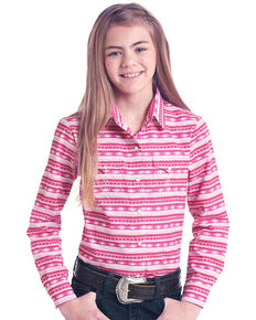 White Label by Panhandle Girls' Pink Aztec Print Long Sleeve Western Shirt , Pink, hi-res