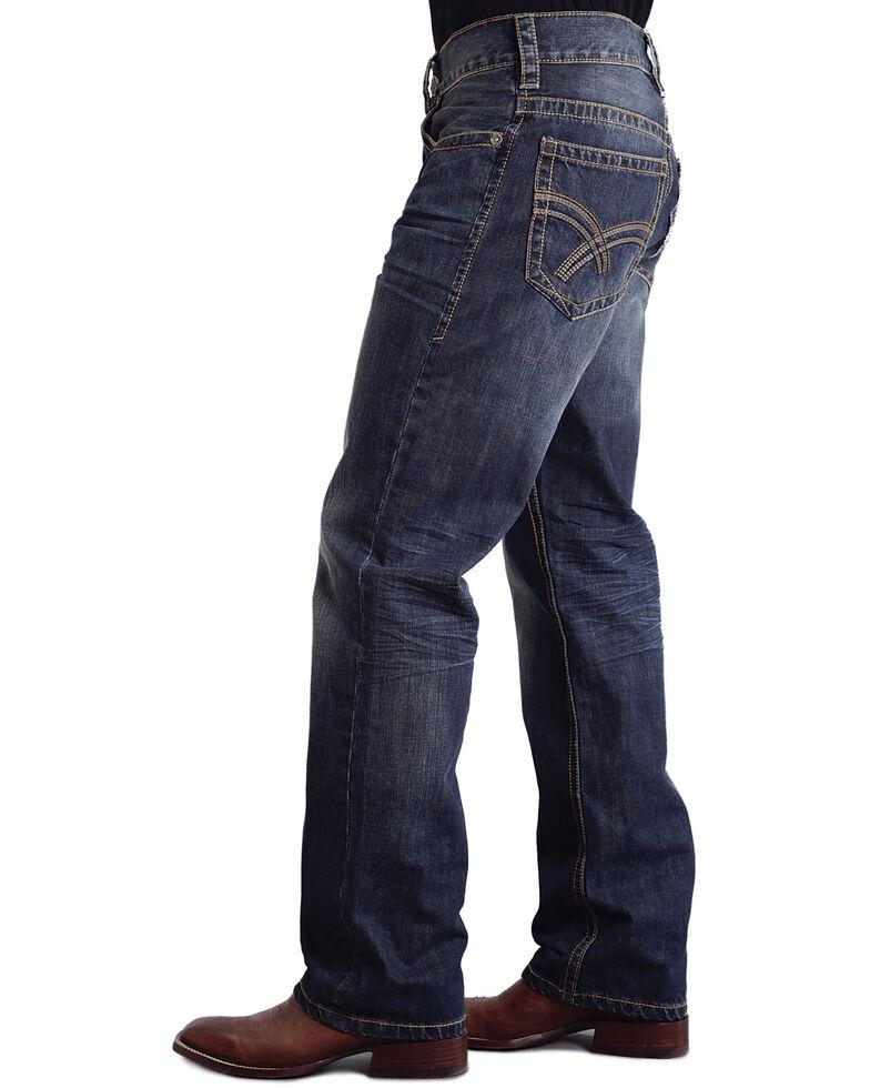 "Stetson Modern Fit Curved ""X"" Stitched Jeans, Med Wash, hi-res"