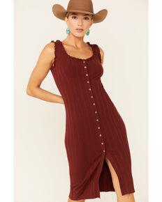 Shyanne Women's Button Front Bodycon Midi Dress, Chocolate, hi-res