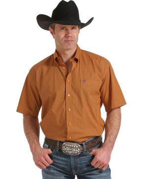 Cinch Men's Orange Print Short Sleeve Shirt , Orange, hi-res