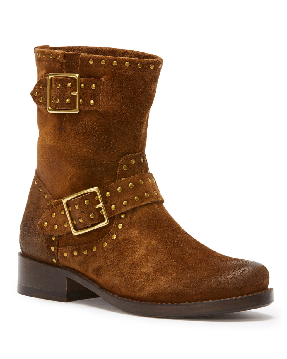 Frye Women's Chocolate Vicky Stud Engineer Boots - Round Toe , Medium Brown, hi-res