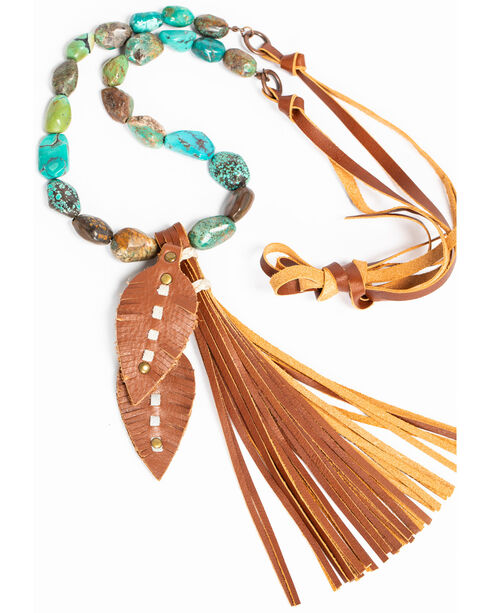Jewelry Junkie African Turquoise Necklace with Leather Feather and Tassel, Green, hi-res