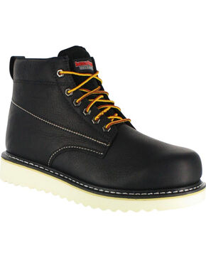 "American Worker Men's 6"" Lace Up Work Boot - Round Toe, Black, hi-res"