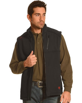 Ariat Men's Work Fire Resistant Black Work Vest, Black, hi-res