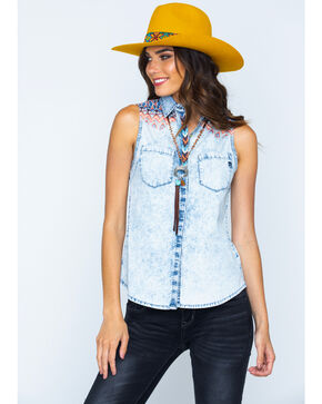 Miss Me Decorated Yoke Sleeveless Western Top, Denim, hi-res