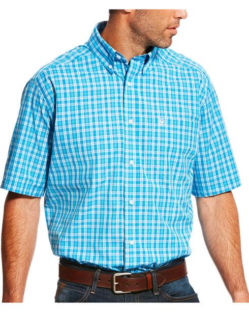 Ariat Men's Pro Series Lawson Deep Aqua Plaid Short Sleeve Shirt - Big & Tall, , hi-res