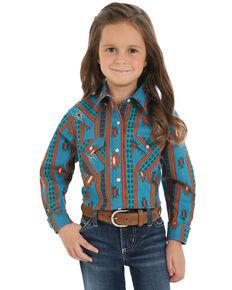 Wrangler Girls' Turquoise Aztec Snap Long Sleeve Western Shirt , Multi, hi-res