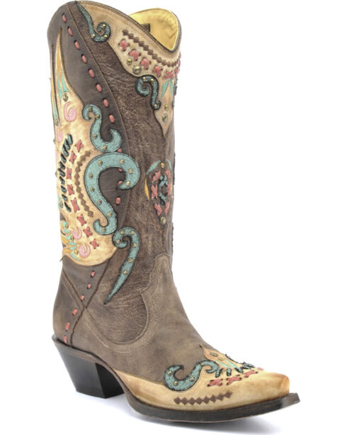 Corral Swan Overlay Cowgirl Boots - Snip Toe , Brown, hi-res