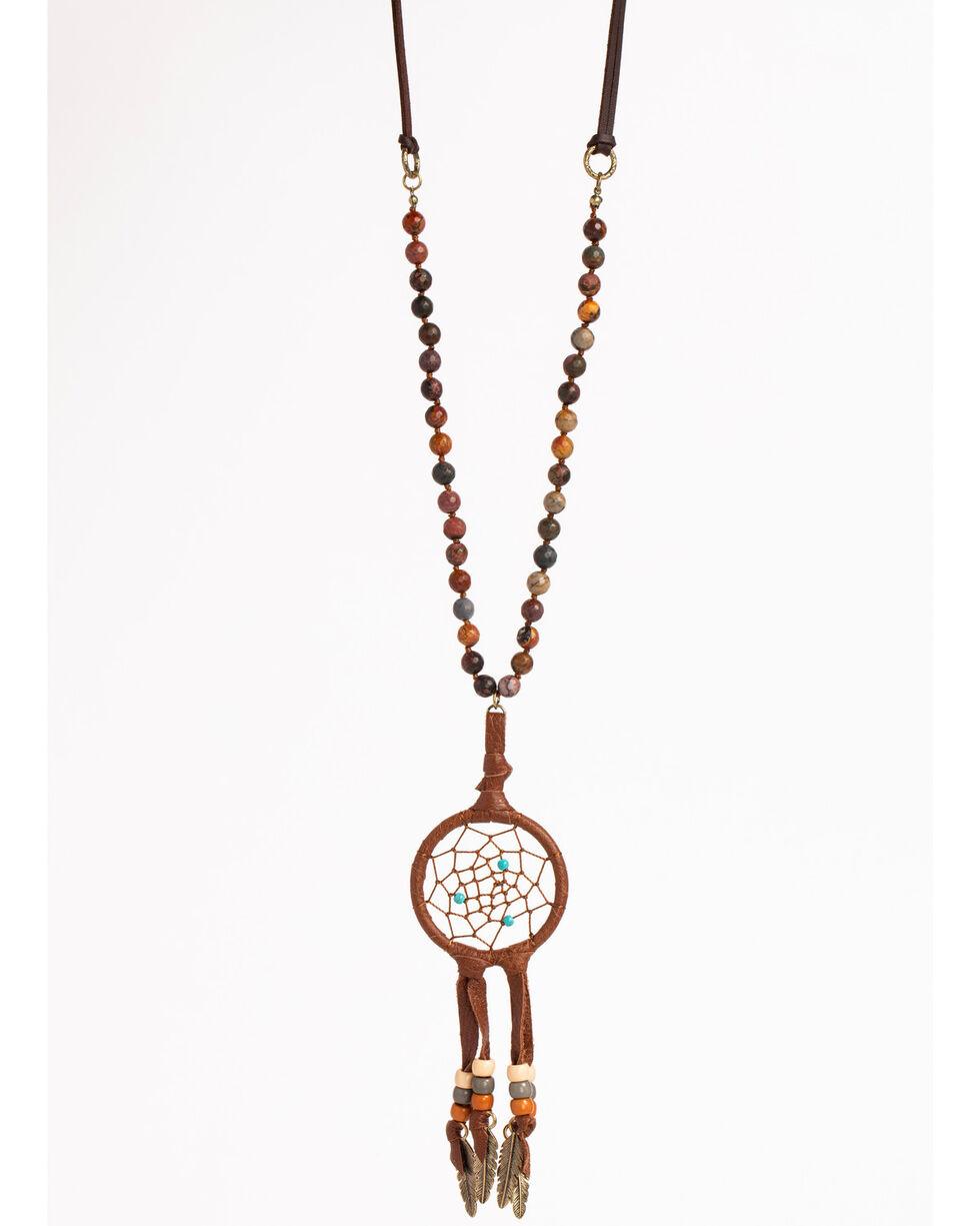 Shyanne Women's Dream Catcher Feather Necklace, Rust Copper, hi-res