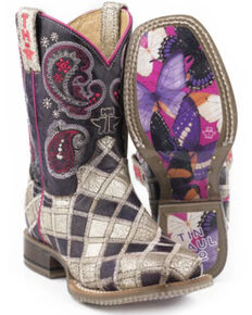 Tin Haul Girls' Sparkle Girl Western Boots - Square Toe, Purple, hi-res