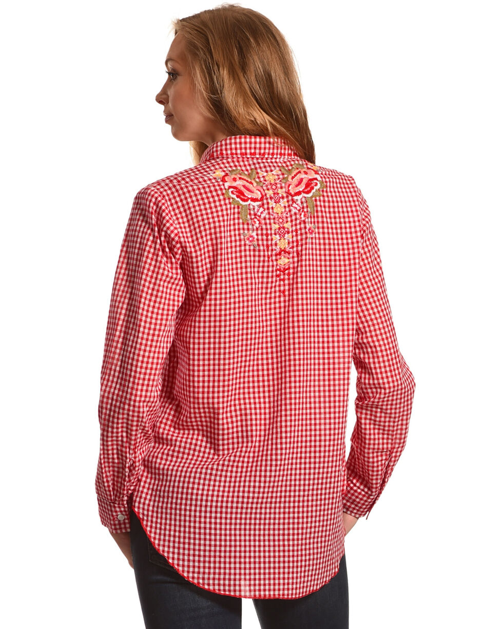 New Direction Sport Women's Red Floral Gingham Shirt , Red, hi-res
