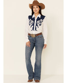 Roper Women's Paisley Park Rayon Challis Embroidered Long Sleeve Snap Western Shirt , White, hi-res