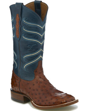 Tony Lama Men's Brown/Blue Full Quill Ostrich Cowboy Boots - Square Toe, Brown, hi-res
