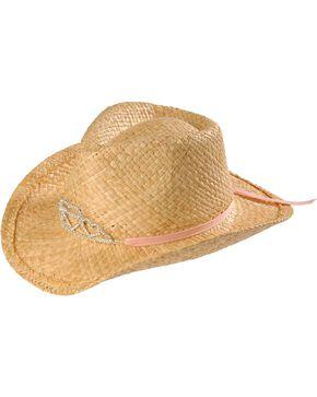 Girls' Rhinestone Hearts Tiara Raffia Cowboy Hat, Tan, hi-res