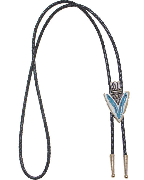 Western Express Arrowhead Turquoise Enamel Bolo Tie, Silver, hi-res