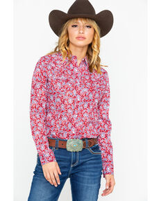 Wrangler Women's Paisley Core Snap Long Sleeve Western Shirt, Red, hi-res
