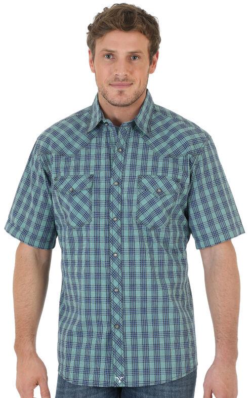 Wrangler 20X Short Sleeve Snap Green Plaid Shirt, Green, hi-res