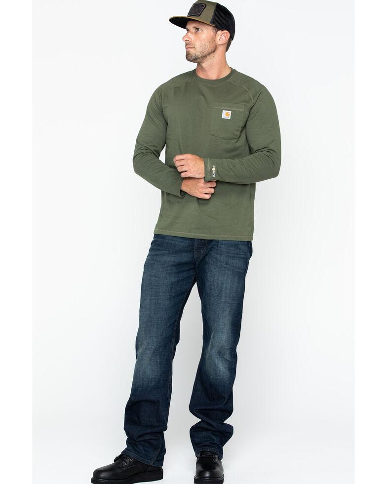 Carhartt Men's Solid Force Long Sleeve Work Shirt, Moss, hi-res