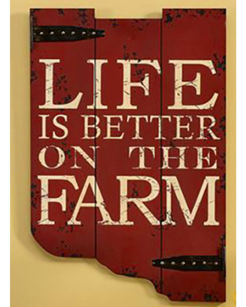 Giftcraft Red Life Is Better On The Farm Sign , Red, hi-res
