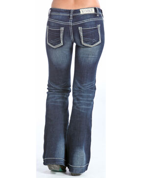 Rock & Roll Cowgirl Ivory Feather Stitch Border Low Rise Trouser Jeans  , Indigo, hi-res
