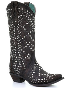Corral Women's Dark Brown Full Studded Western Boots - Snip Toe, Dark Brown, hi-res