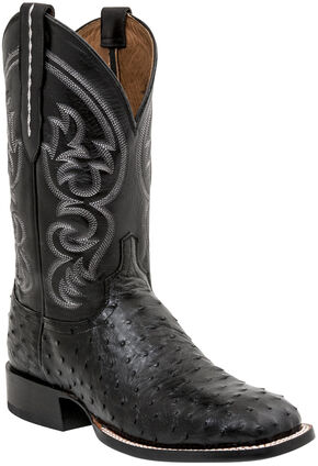 Lucchese Men's Josh Full Quill Ostrich Horseman Boots - Square Toe, Black, hi-res