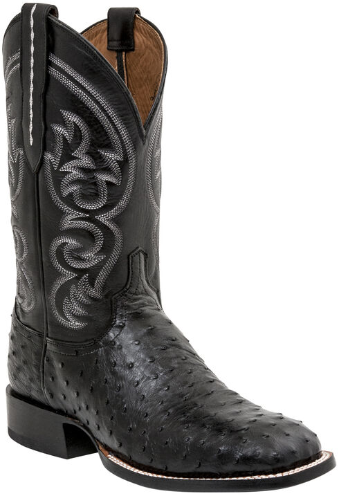 Lucchese Men's Handmade Josh Full Quill Ostrich Horseman Boots - Square Toe, Black, hi-res