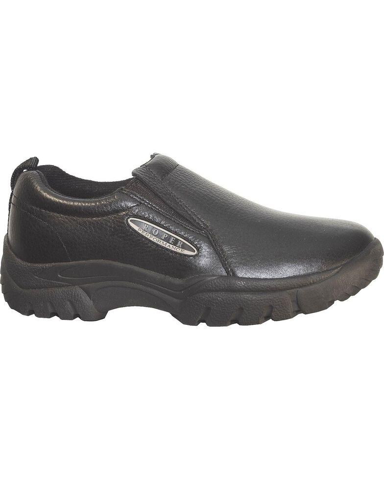 Roper Performance Smooth Leather Slip-On Shoes - Round Toe, Black, hi-res