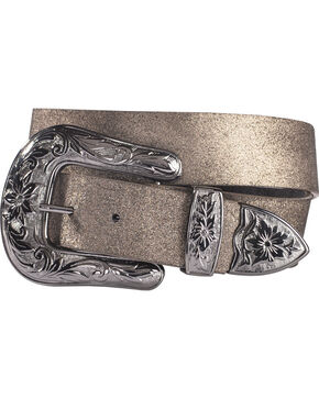 Shyanne Women's Silver Shimmer Belt, Black, hi-res