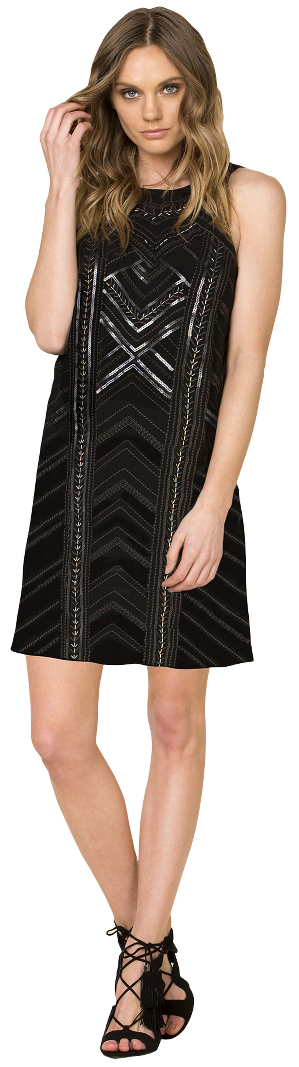 Miss Me Women's Black Sleeveless Embroidered Dress , Black, hi-res