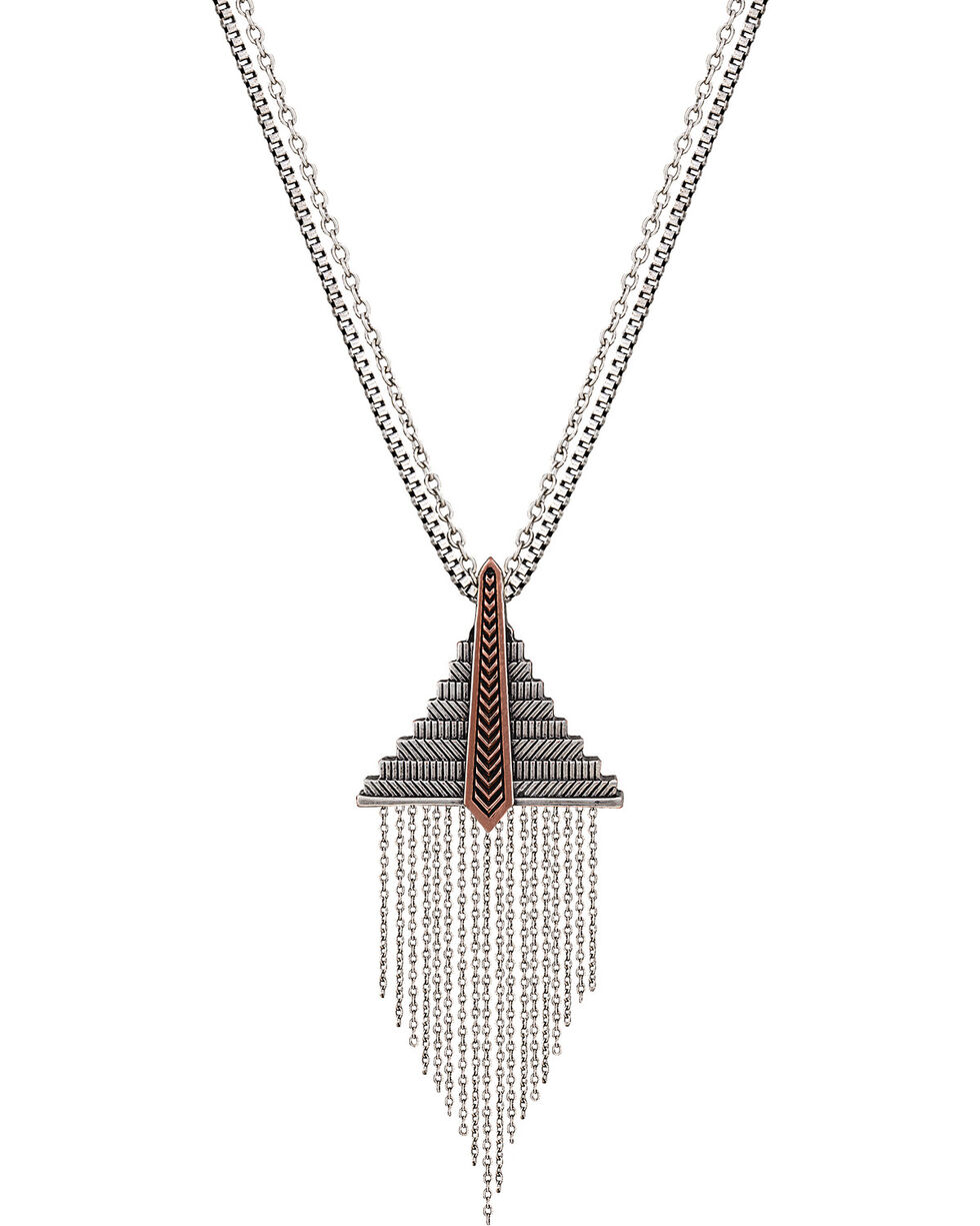 Wrangler Rock 47 Points of Aztec Fringed Pyramid Necklace, Antique Silver, hi-res