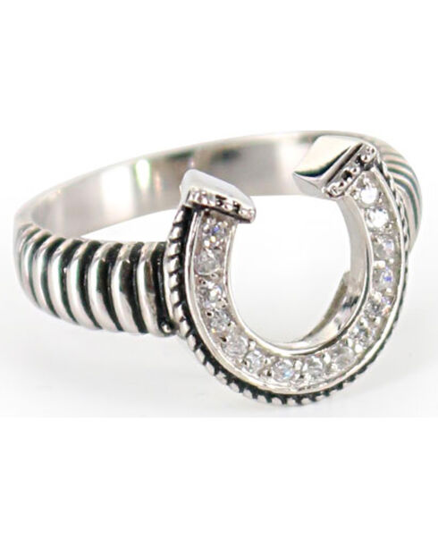 Montana Silversmiths Women's Striped Horseshoe Ring, Silver, hi-res