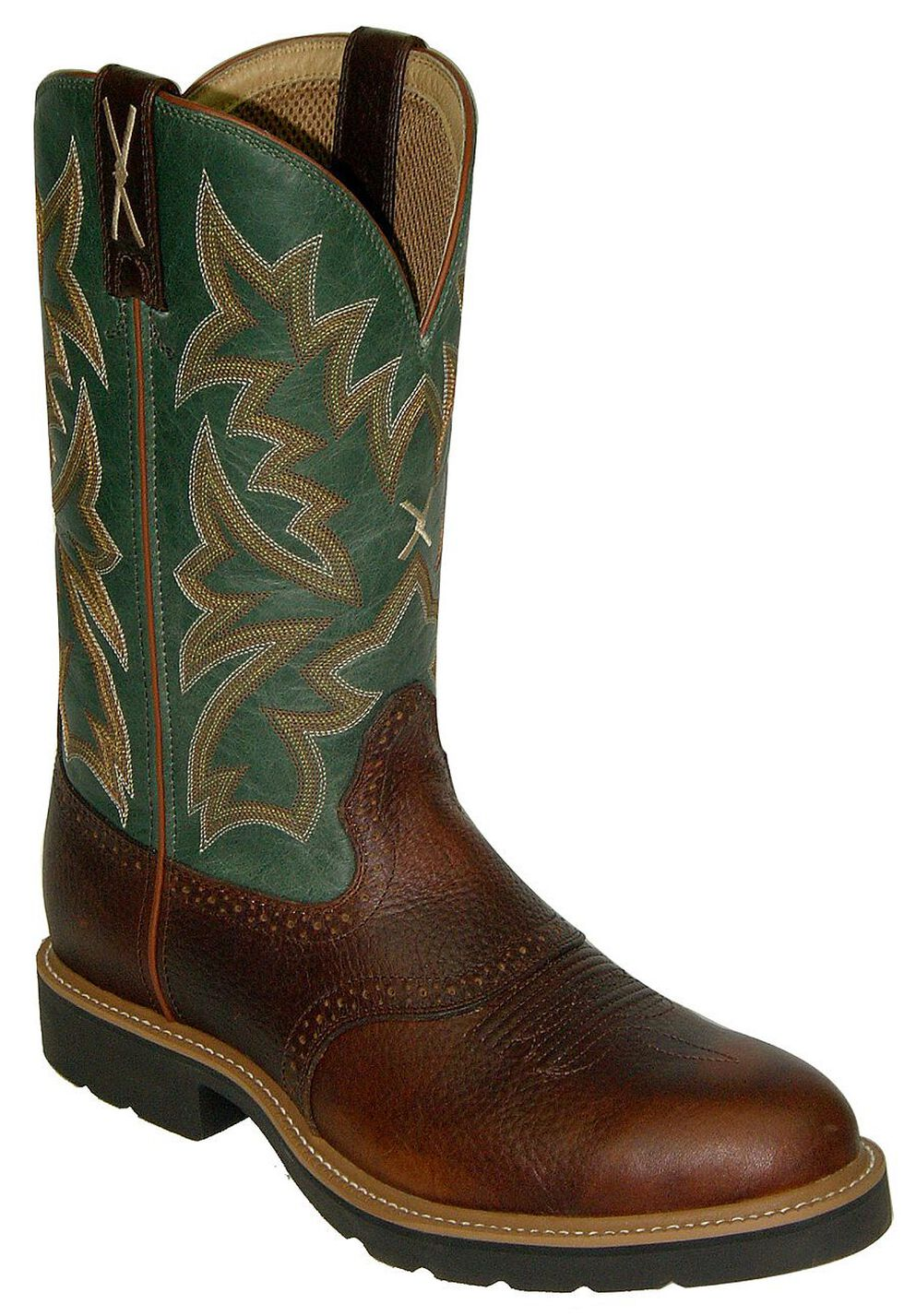 Twisted X Saddle Vamp Pull-On Work Boots - Steel Toe, Cognac, hi-res