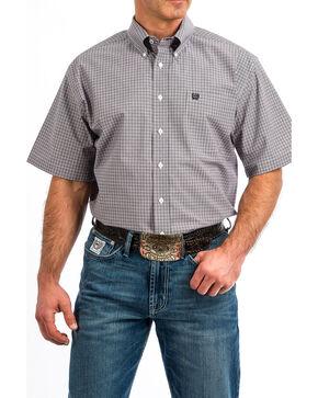 Cinch Men's Small Check Plaid Short Sleeve Western Shirt , Light Purple, hi-res