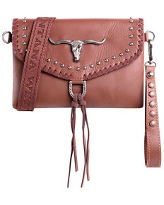 Montana West Women's Longhorn Crossbody Handbag, Tan, hi-res
