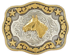 Nocona Boys' Silver & Gold Horse Head Buckle, Silver, hi-res