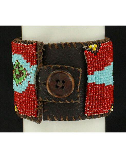 Blazin Roxx Snake Beaded Leather Cuff Bracelet, Multi, hi-res