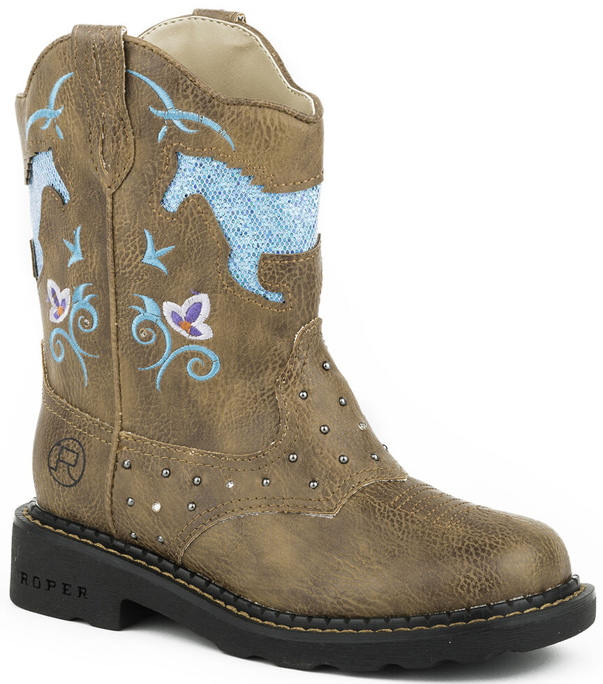 Roper Toddler Girls' Turquoise Glitter Horse Light-Up Cowgirl Boots - Round Toe , Tan, hi-res