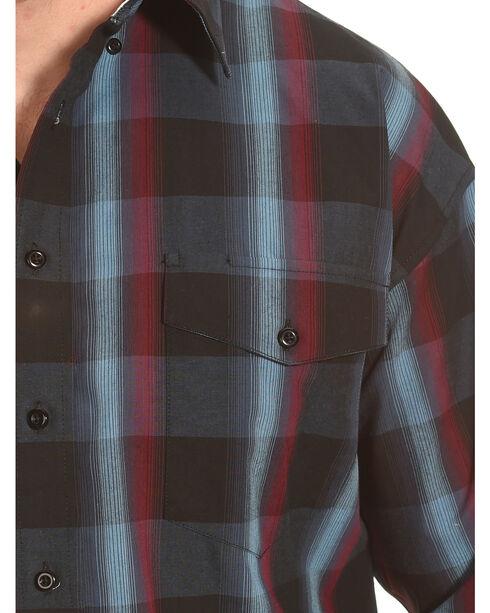 Panhandle Slim Navy and Burgundy Plaid Snap Western Shirt , Black, hi-res
